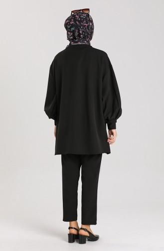 Kolları Pileli Tunik Pantolon İkili Takım 2007-01 Siyah