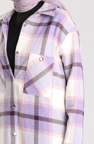Buttoned Lumberjack Tunic 6873-01 Lilac 6873-01