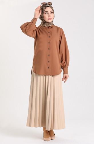 Balon Kollu Gömlek 3237-09 Camel