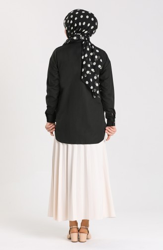 Düğmeli Gömlek 3238-01 Siyah