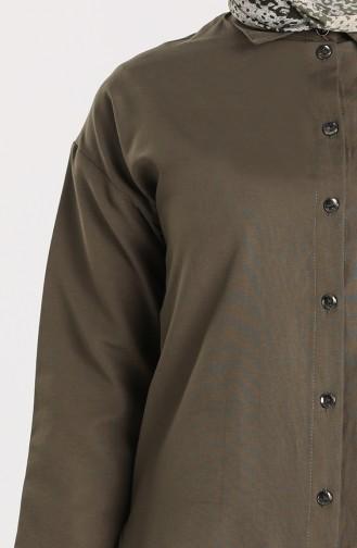 Düğmeli Gömlek 3238-07 Haki