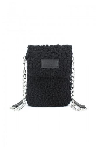 Housebags Kadın Suni Kürklü Cep Telefonu Çantası 0199 -02 Siyah