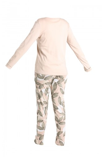 Düğmeli Pijama Takım 2009-02 Bej