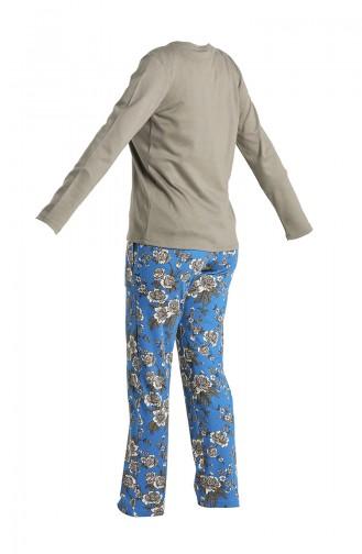 Düğmeli Pijama Takım 2024-01 Haki 2024-01