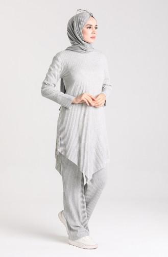 Tunik Pantolon İkili Takım 7733-05 Gri