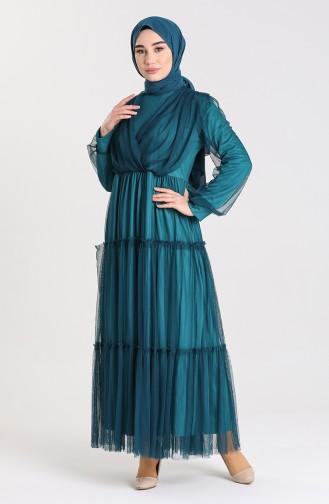 Oil Blue İslamitische Avondjurk 3052-07