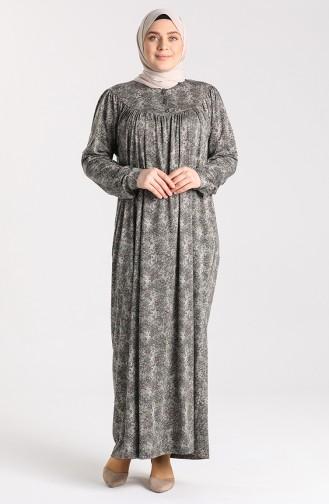 Büyük Beden Desenli Elbise 4781A-03 Mor