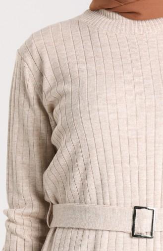 Knitwear Tunic with Belt 4269-06 Beige 4269-06