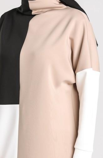 Scuba Fabric Tunic Trousers Double Suit 21005-01 Mink Black 21005-01