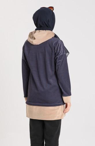 Kazayağı Desenli Sweatshirt 9027A-02 Lacivert Bordo