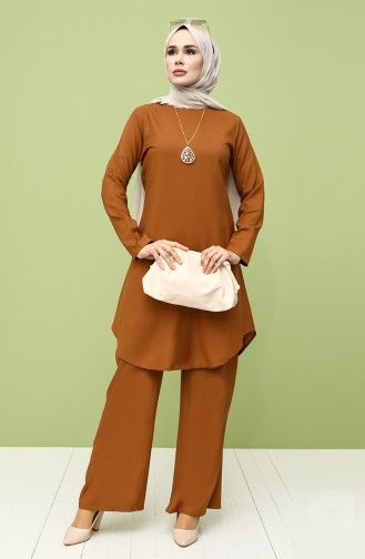 Kolyeli Tunik Pantolon İkili Takım 5001-02 Taba