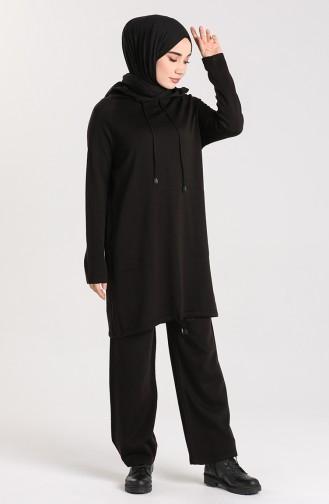 Triko Kapüşonlu Tunik Pantolon İkili Takım 4271-02 Siyah