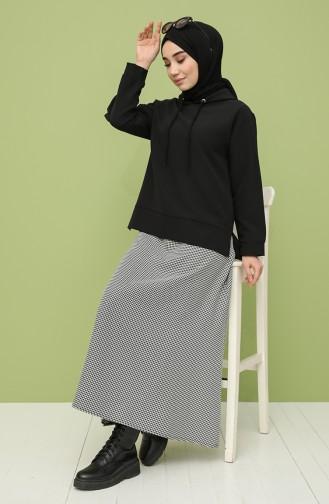 Kapüşonlu Sweatshirt Etek İkili Takım 2325-01 Siyah Beyaz