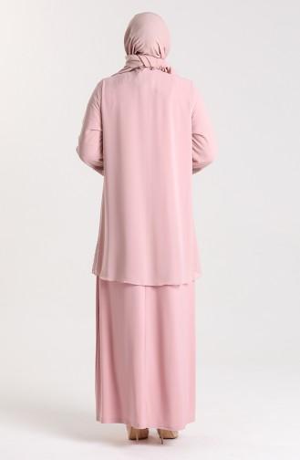 Büyük Beden Taş Baskılı Abiye Elbise 9300-04 Pudra
