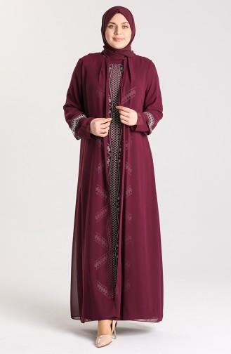 Damson İslamitische Avondjurk 9316-01