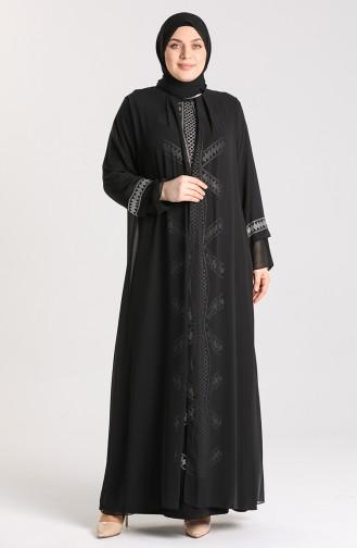 Büyük Beden Taşlı Abiye Elbise 9316-04 Siyah
