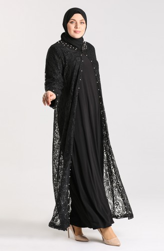 Plus Size Lace Covering Pearl Evening Dress 9355-06 Black 9355-06