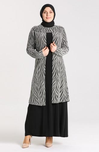 Plus Size Jacquard Evening Dress 9377-03 Silver Gray 9377-03