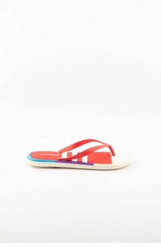 Red Summer Slippers 2862.MM KIRMIZI