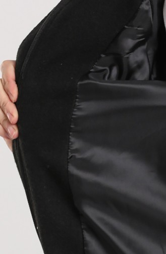 Kapüşonlu Uzun Kaşe Kaban 6874-01 Siyah