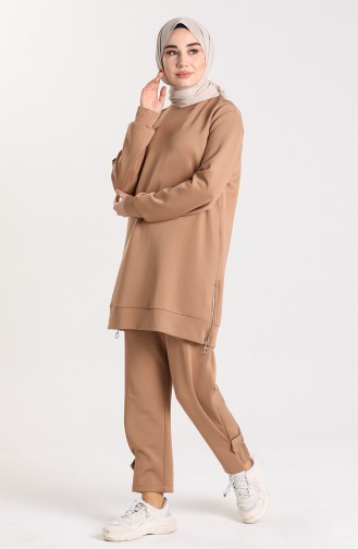 Zipper Detailed Tunic Trousers Double Suit 1149-01 Milk Coffee 1149-01