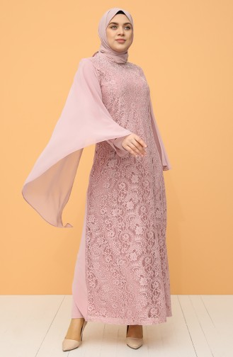 Plus Size Lace Stone Evening Dress 9361-02 Powder 9361-02