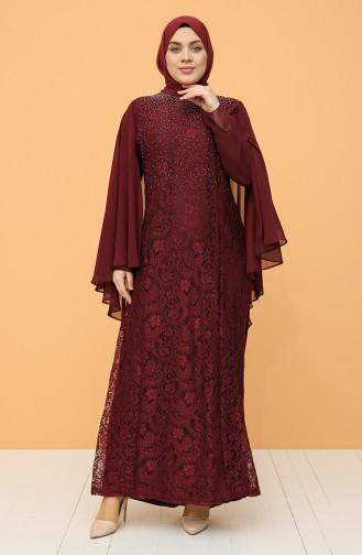Plus Size Lace Stone Evening Dress 9361-05 Claret Red 9361-05