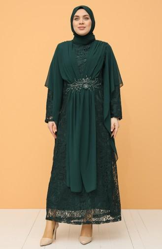 Büyük Beden Dantelli Abiye Elbise 9364-03 Zümrüt Yeşili