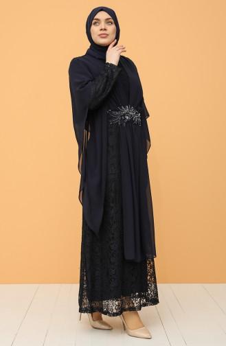 Büyük Beden Dantelli Abiye Elbise 9364-04 Lacivert