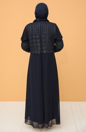 Büyük Beden Güpürlü Abiye Elbise 9395-04 Lacivert