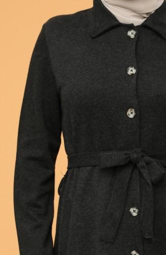 Büyük Beden Boydan Düğmeli Kuşaklı Elbise 0800-01 Siyah