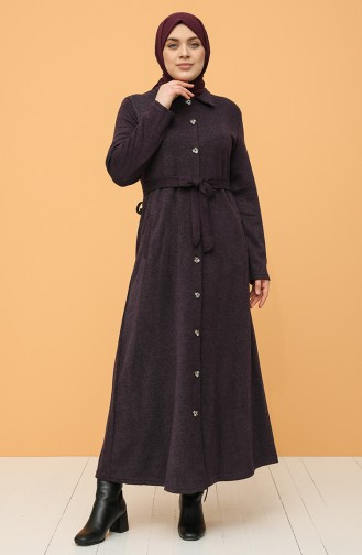 Plus Size Buttoned Belted Dress 0800-03 Damson 0800-03
