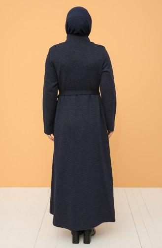 Büyük Beden Boydan Düğmeli Kuşaklı Elbise 0800-06 Lacivert