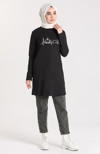 Desenli Spor Tunik 6004-01 Siyah