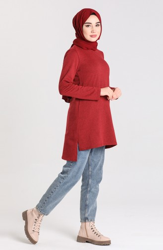 Asymmetric Tunic with Side Slits 3236-09 Claret Red 3236-09