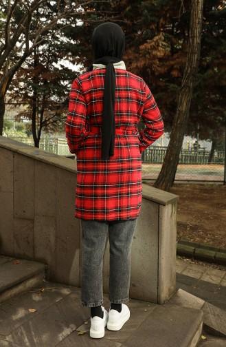 معطف طويل أحمر كلاريت 21K8117V-01