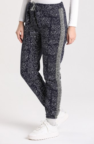 Plus Size Garnish Jogger Sweatpants 0500-04 Dark Navy Blue 0500-04