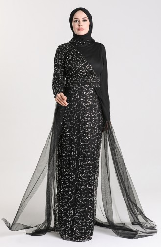 Sequined Tulle Evening Dress 5345-09 Petrol 5345-11