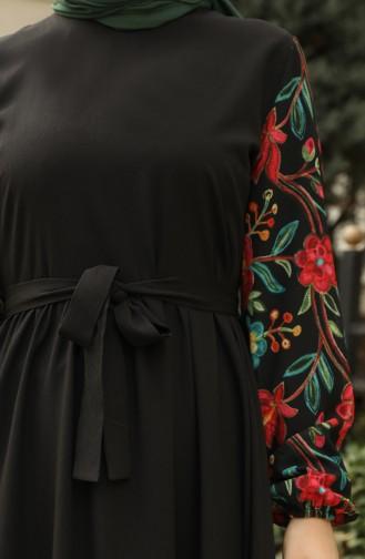 Garnished Pleated Dress 8003-01 Black 8003-01