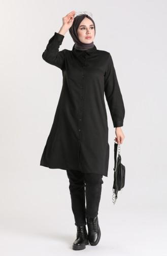 Slit wool Viscose Tunic 2526-01 Black 2526-01