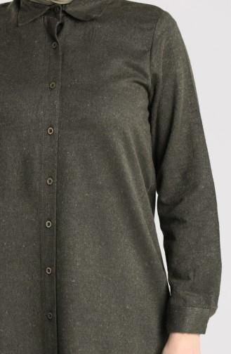 Slit wool Viscose Tunic 2526-03 Khaki 2526-03