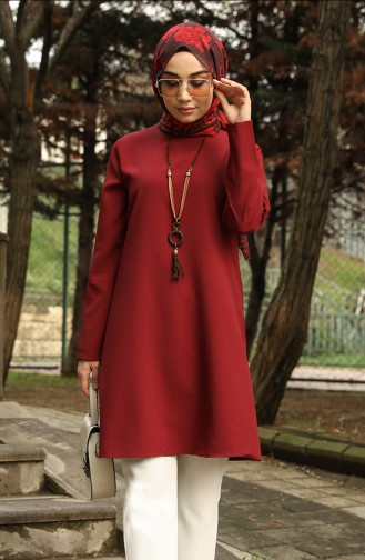 Basic Kolyeli Tunik 4013-01 Bordo