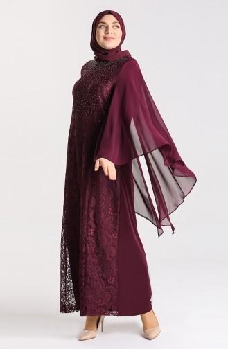 Plus Size Lace Stone Evening Dress 9361-06 Plum 9361-06