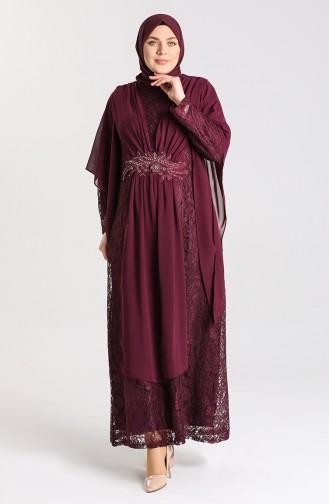 Büyük Beden Dantelli Abiye Elbise 9364-06 Mürdüm