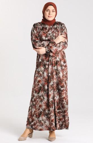 Brick Red Hijab Dress 4782-04