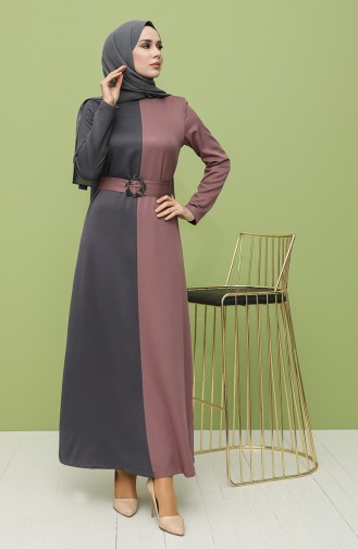 Garnish Belt Dress 8298-05 Gray Dry Rose 8298-05