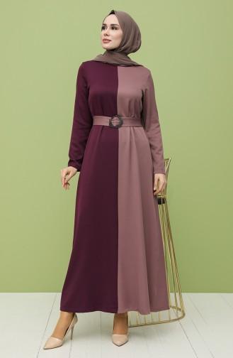Garnili Kemerli Elbise 8298-06 Mürdüm Gül Kurusu