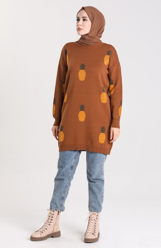 Knitwear Patterned Tunic 4273-02 Tobacco 4273-02