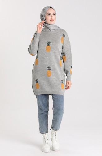 Knitwear Patterned Tunic 4273-04 Gray 4273-04