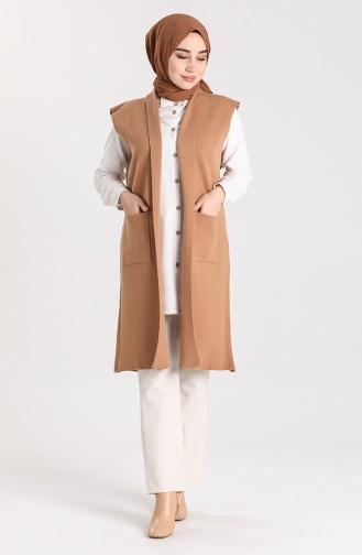 Knitwear Vest with Pockets 0566-02 Milky Coffee 0566-03